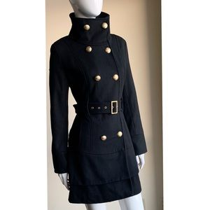 Guess Double Breasted Layered Flare Wool Coat M
